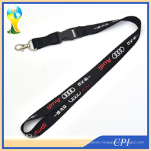 Audi Brand Black Lanyard with 2 Colors Logo Printing